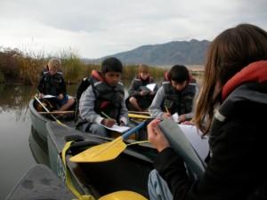 students in canoe
